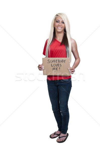 Stockfoto: Vrouw · teken · mooie · jonge · vrouw