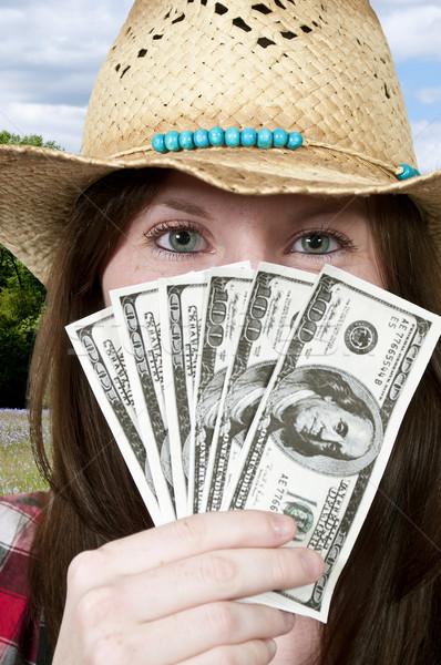 Woman Holding 100 Dollar Bills Stock photo © piedmontphoto