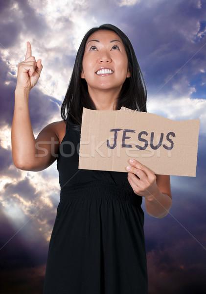Kadın İsa imzalamak güzel genç Stok fotoğraf © piedmontphoto