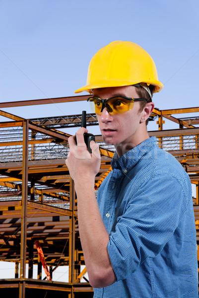 Homem bonito falante edifício homens Foto stock © piedmontphoto