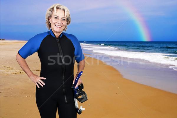 Foto stock: Mergulho · mulher · molhado · terno · máscara