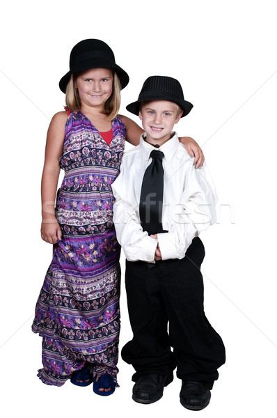 Boy and Girl in Oversized Clothes Stock photo © piedmontphoto