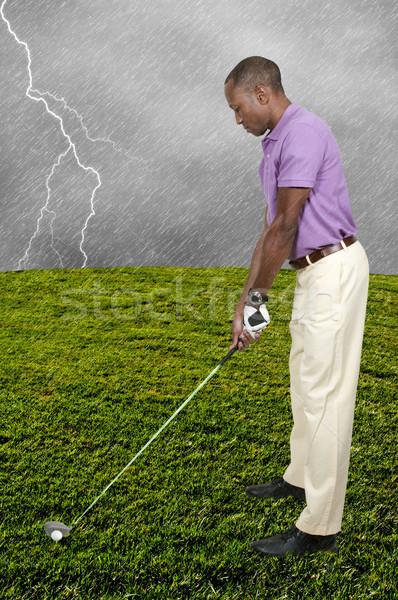Człowiek golfa przystojny mężczyzna gry sportu golf Zdjęcia stock © piedmontphoto