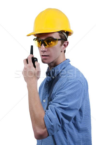 建設作業員 ハンサムな男 話し トランシーバー 建物 男性 ストックフォト © piedmontphoto