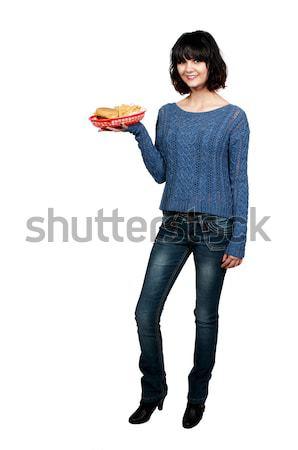 Mulher fries belo mulher jovem cheeseburger Foto stock © piedmontphoto