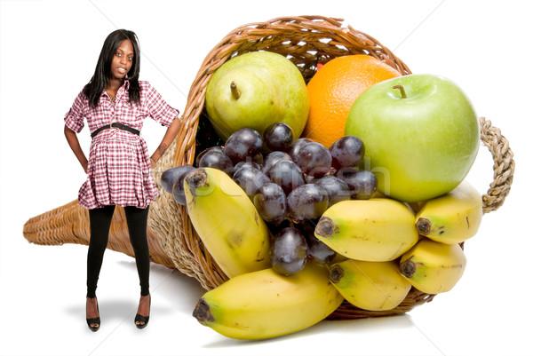 Grávida mulher negra fruto cornucópia belo jovem Foto stock © piedmontphoto