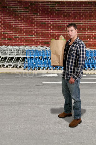 ストックフォト: 男 · 食料品 · ショッピング · ハンサムな男