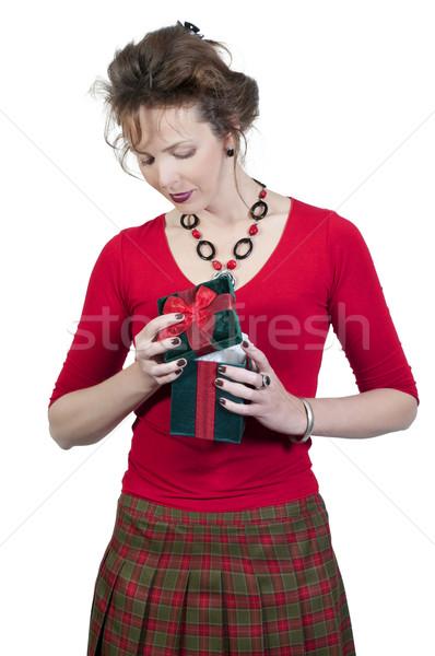 歳の誕生日 少女 美しい 若い女性 開設 現在 ストックフォト © piedmontphoto