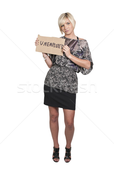 Woman Holding an Unemployment Sign Stock photo © piedmontphoto