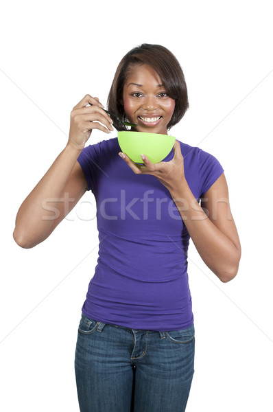 Stockfoto: Vrouw · eten · mooie · vrouw · voedsel · meisje · glimlach
