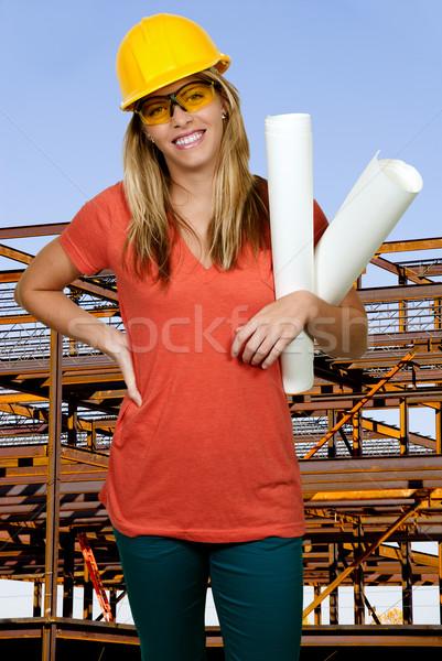 女性 建設作業員 着用 ヘルメット 保護眼鏡 女性 ストックフォト © piedmontphoto