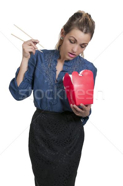 Kobieta jedzenie piękna kobieta chińczyk japoński asian Zdjęcia stock © piedmontphoto