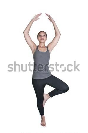 Nő jóga gyönyörű fekete afroamerikai hozzáállás Stock fotó © piedmontphoto