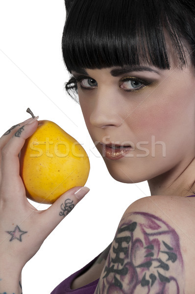 Woman Holding a Pear Stock photo © piedmontphoto