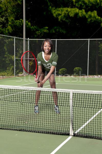 Woman at Tennis Court Stock photo © piedmontphoto