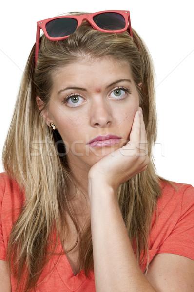 Vrouw acne mooie jonge vrouw meisje gezicht Stockfoto © piedmontphoto