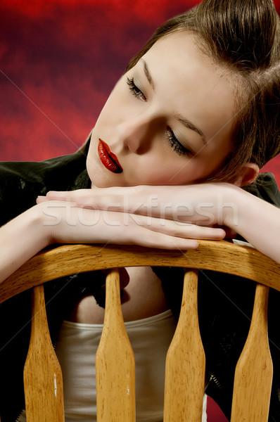 美人 美しい 若い女性 見える 遠く ストックフォト © piedmontphoto