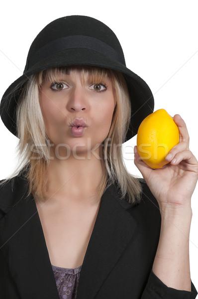 女性 レモン 美人 唇 少女 ストックフォト © piedmontphoto