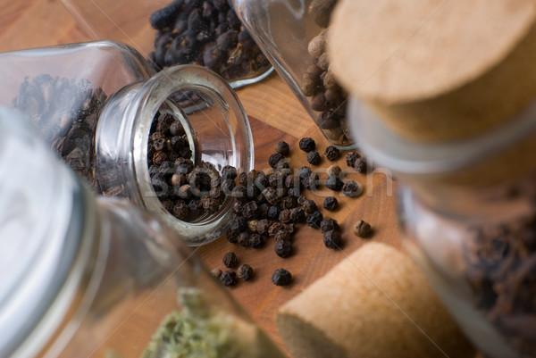 黒コショウ 種子 ガラス jarファイル まな板 その他 ストックフォト © Pietus
