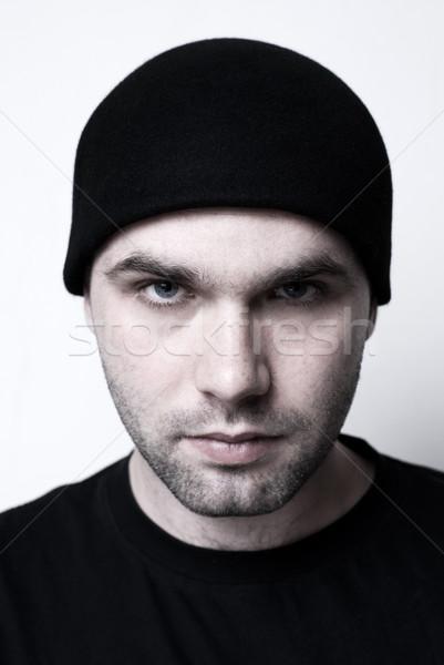 Jonge man portret selectieve aandacht ogen gezicht jongen Stockfoto © Pietus