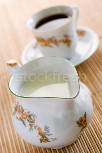 Tejesflakon tej virágmintás minta porcelán fából készült Stock fotó © Pietus