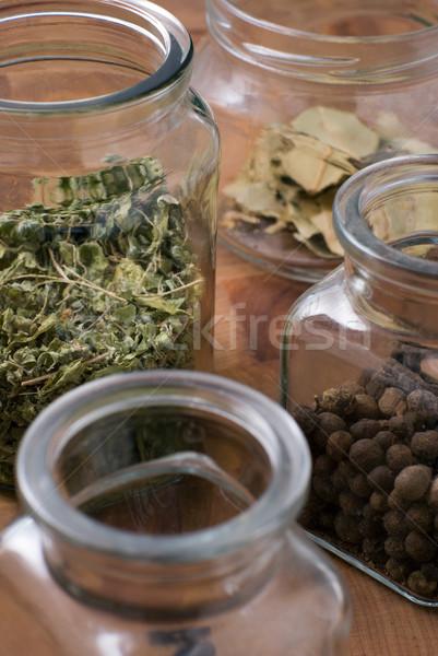 Jars with herbs Stock photo © Pietus