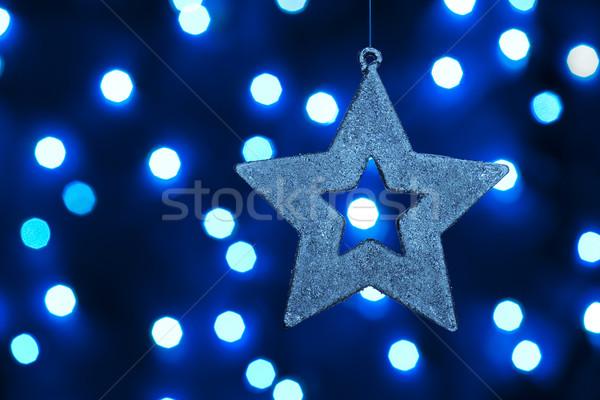 Christmas star glas licht Blauw Stockfoto © Pietus
