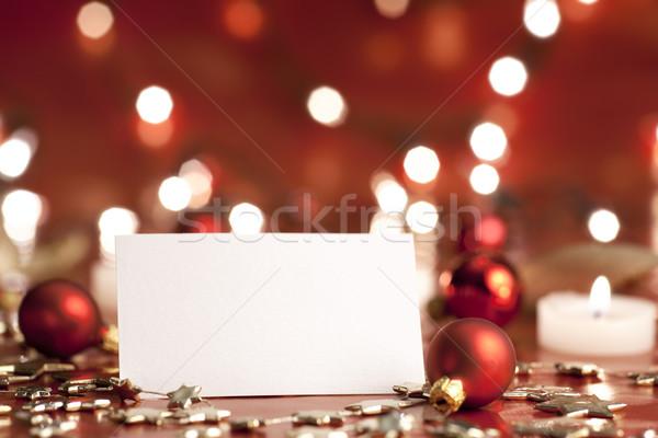 Navidad decoración tarjeta en blanco velas luces Foto stock © Pietus