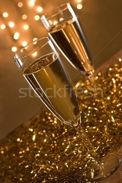 Dois champanhe natal luzes raso Foto stock © Pietus