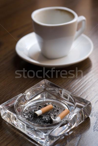 Nikotin koffein hamutartó üres kávéscsésze kávézó Stock fotó © Pietus