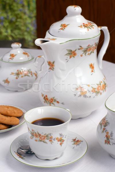 Koffie ingesteld tabel beker focus Stockfoto © Pietus