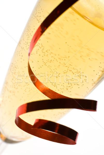 Champán flauta vidrio detalle cinta Foto stock © Pietus