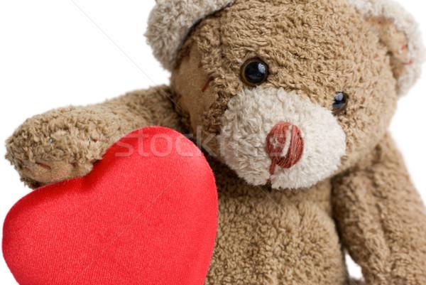 Valentijnsdag teddybeer Rood hart liefde speelgoed Stockfoto © Pietus