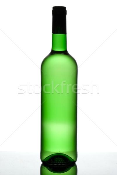 Verde botella vino blanco aislado blanco negro Foto stock © Pietus