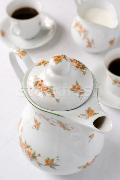 Foto stock: Chá · café · pote · conjunto · tabela · bule