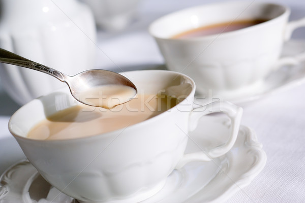 Stock fotó: Teáskanál · csésze · tea · kávé · szett · kettő