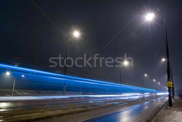 Zdjęcia stock: Noc · drogowego · miasta · deszczowy · pogoda · zamazany