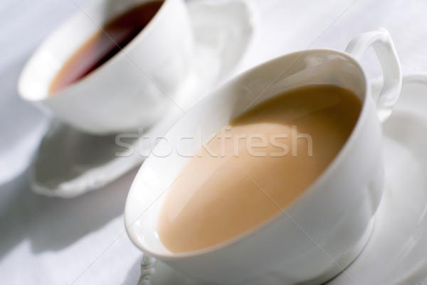 Beker thee koffie ingesteld twee porselein Stockfoto © Pietus