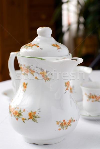Chá café pote conjunto tabela bule Foto stock © Pietus