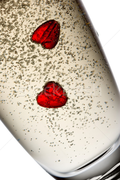 Baile corazones dos champán vidrio burbujas Foto stock © Pietus