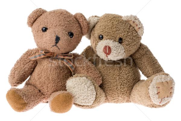 Twee teddyberen vergadering geïsoleerd witte paar Stockfoto © Pietus