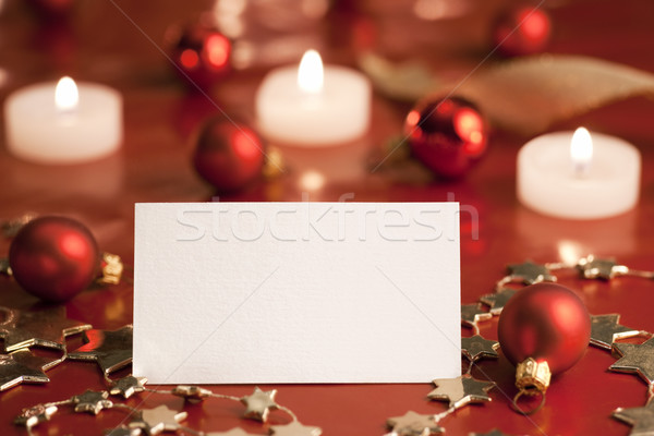 Christmas tag decoratie lege kaart papier kaars Stockfoto © Pietus