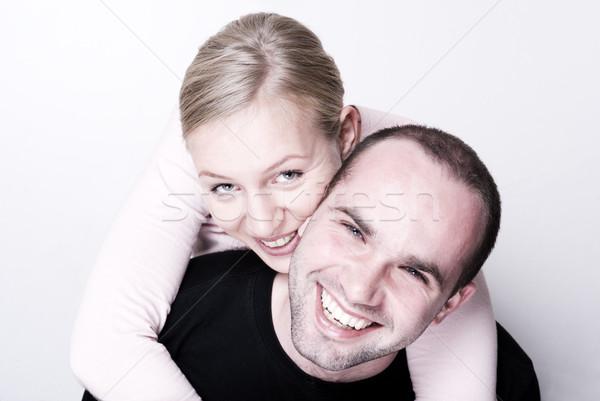 Gelukkig paar focus meisje handen glimlach Stockfoto © Pietus