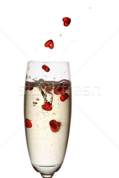 Champagne liefde harten vallen beneden fluit Stockfoto © Pietus