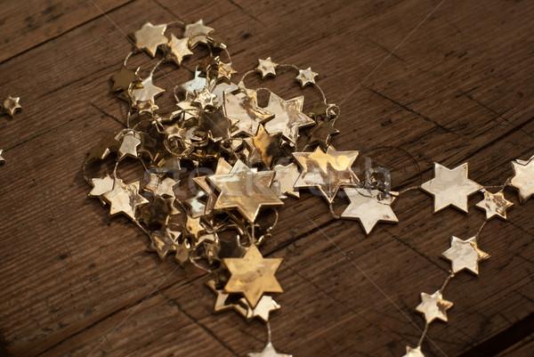 Gouden sterren christmas decoraties hout Stockfoto © Pietus