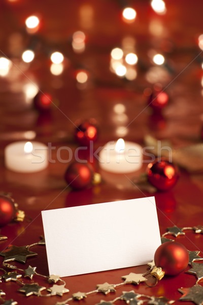 Christmas decoratie lege kaart kaarsen lichten Stockfoto © Pietus