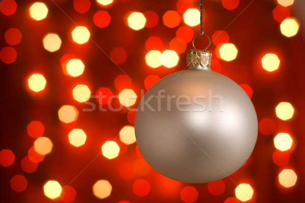 Christmas bal zilver lichten Stockfoto © Pietus