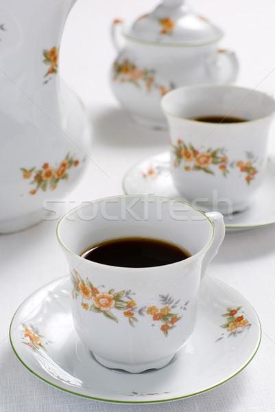 Thee koffie ingesteld tabel beker Stockfoto © Pietus