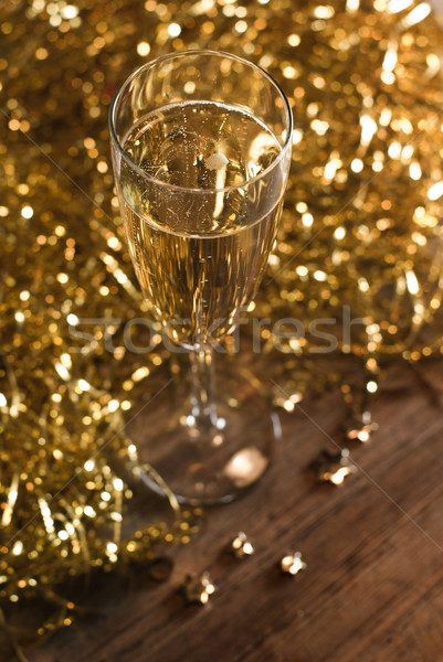 Champagne fluit gouden ondiep Stockfoto © Pietus