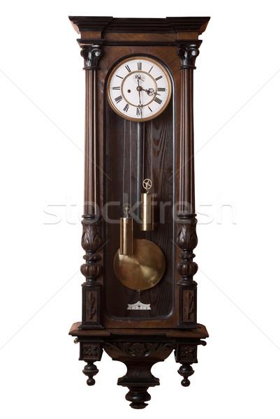 Velho avô relógio pêndulo parede isolado Foto stock © Pietus